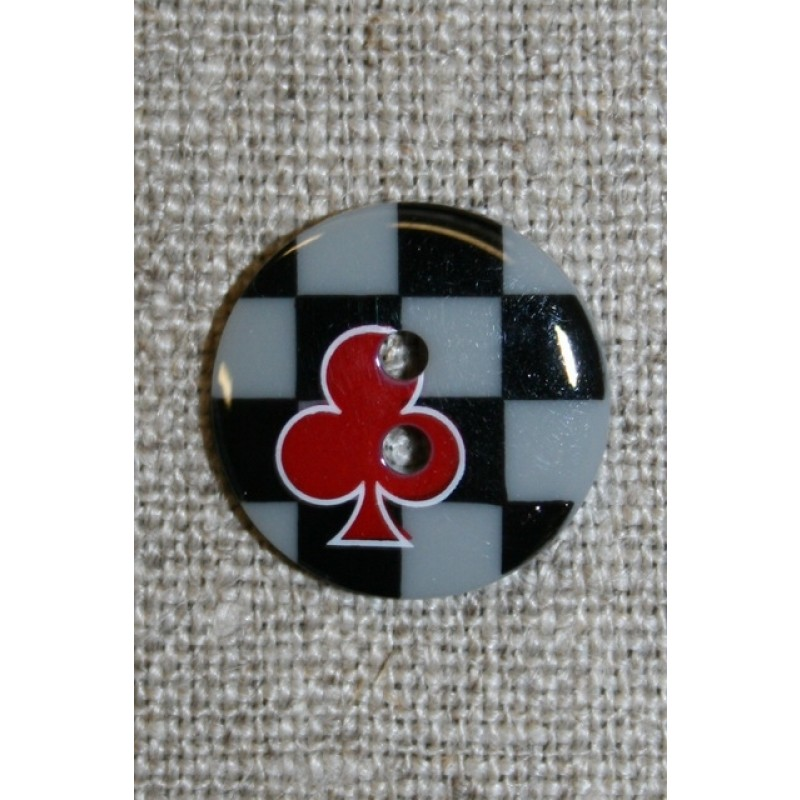 2-huls knap sort/grå/rød m/tern/klør-31