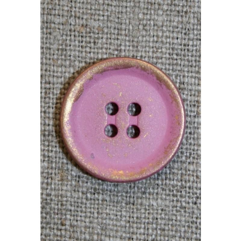 Metalknap guld/lyserød , 20 mm.