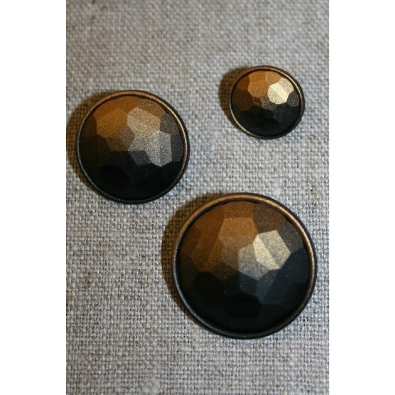Faset-slebne knapper i metal look, gl.guld
