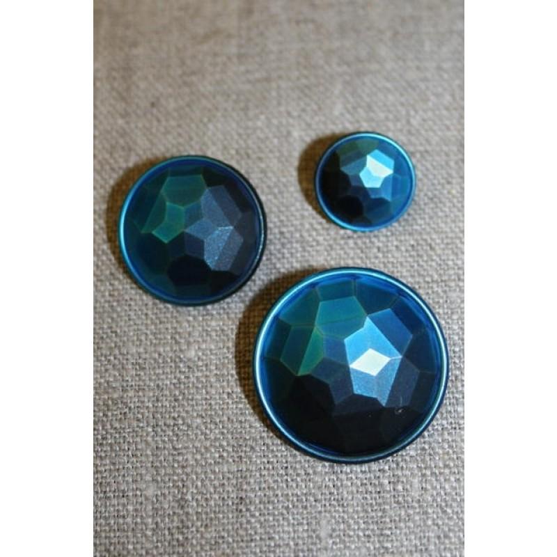 Faset-slebne knapper i metal look, petrol-31