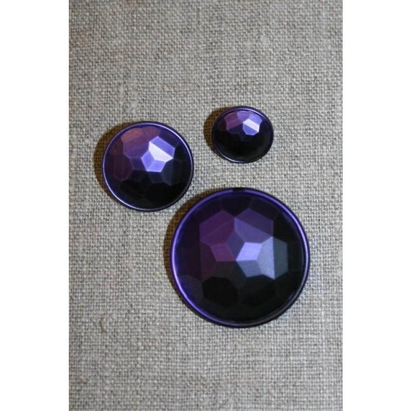 Faset-slebne knapper i metal look, mørkelilla-31
