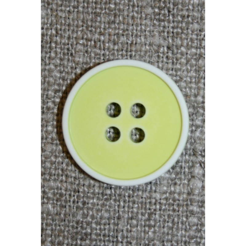 4-huls knap m/hvid kant, lys lime/gul 18 mm.-31
