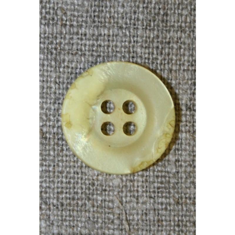 4-huls knap krakeleret lys gul, 18 mm.