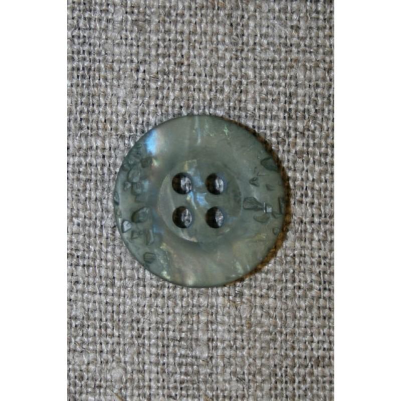 Støvet grøn krakeleret knap, 18 mm.