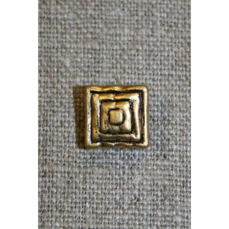 Lille firkantet knap, gl.guld