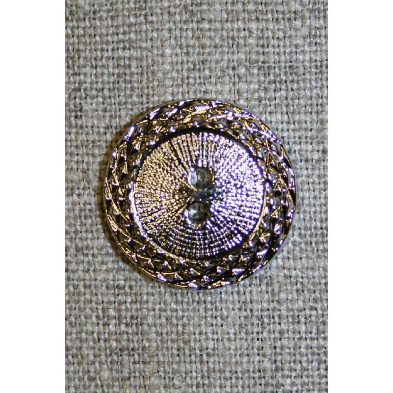 Sølv-knap m/mønster-kant, 22 mm.