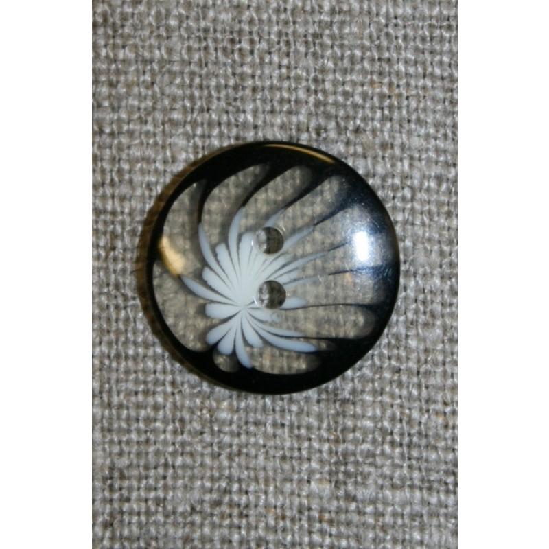 Klar knap m/blomst, sort/hvid-31