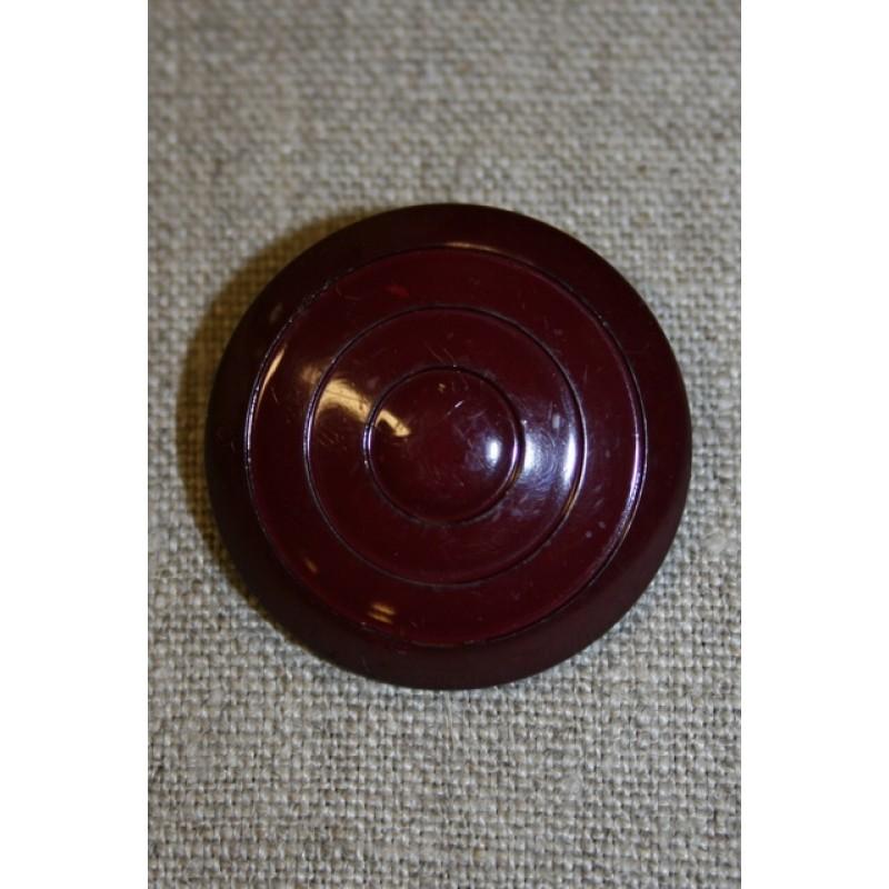 Stor mørk bordeaux knap, 34 mm.