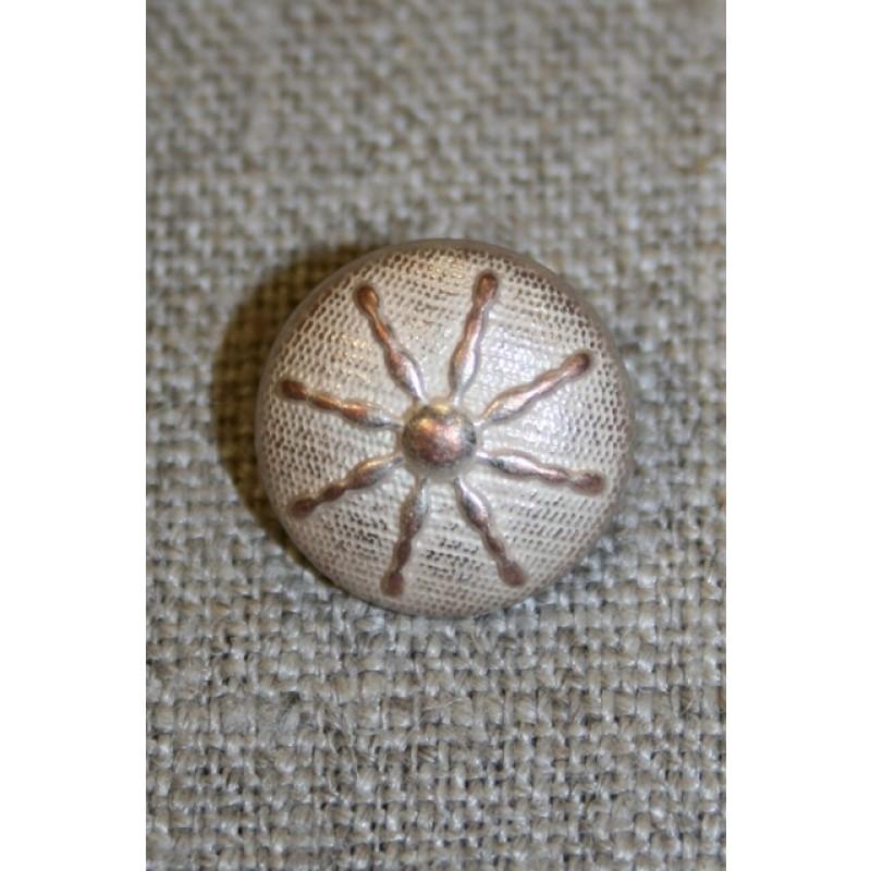 Metal-knap m/streger, gl.sølv/pudder, 15 mm.-31