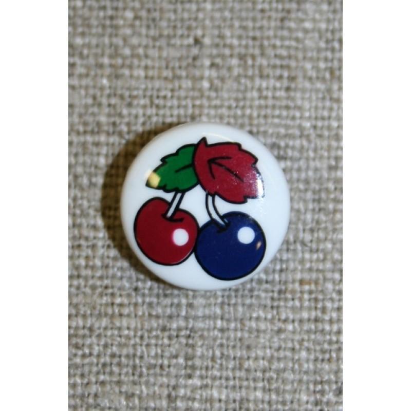 Hvid knap m/bær