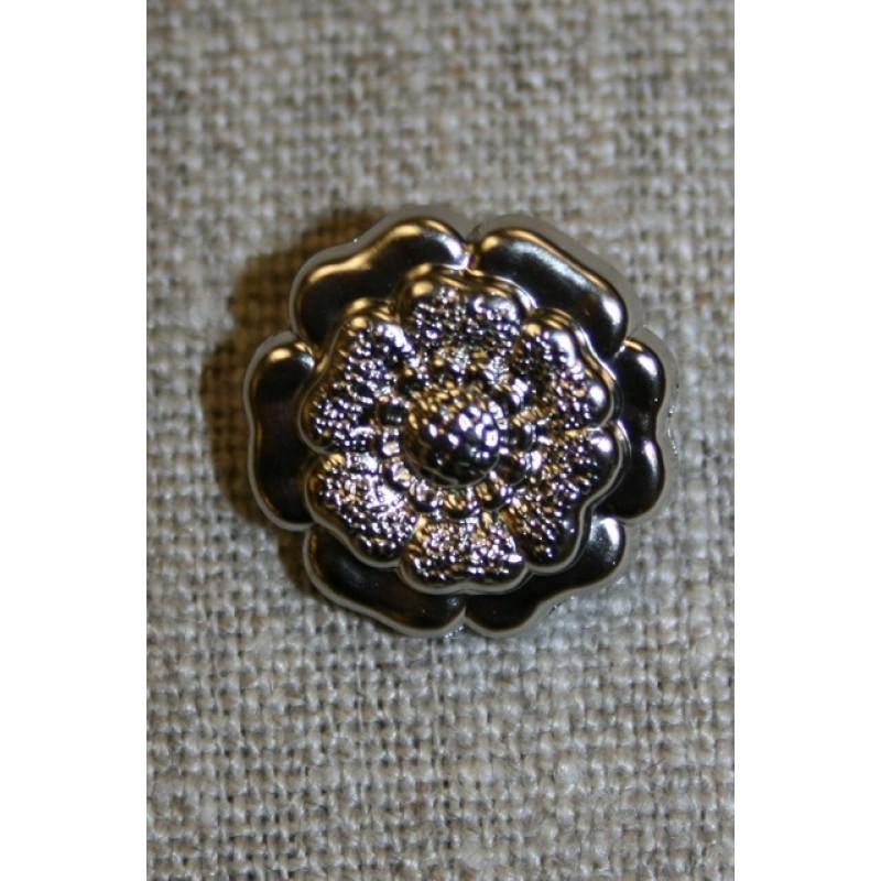 Mat knap sølv blomst, 18 mm.-31