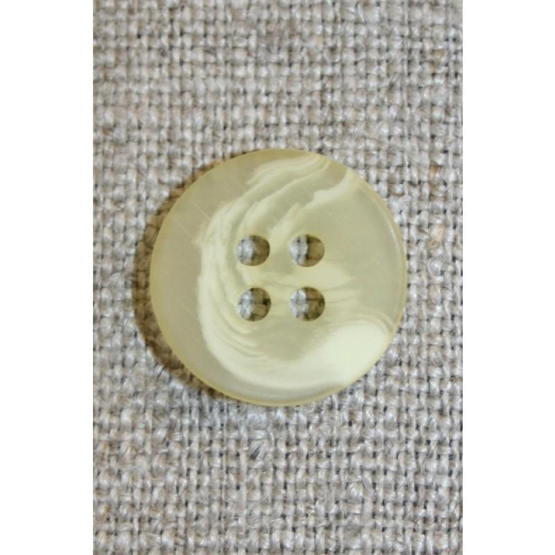 Buet 4-huls knap creme/lysegul, 15 mm.-31