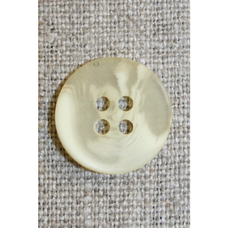 Buet 4-huls knap creme/lysegul, 18 mm.