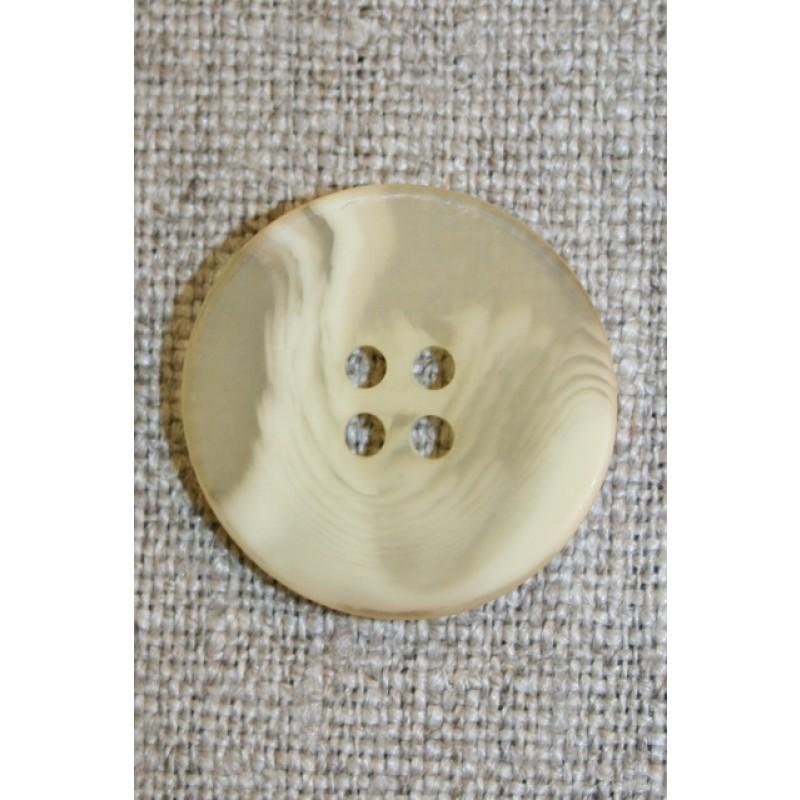 Buet 4-huls knap creme/lysegul, 22 mm.-31