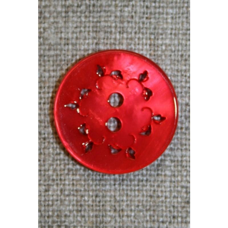 Knap m/hulmønster, rød 20 mm.