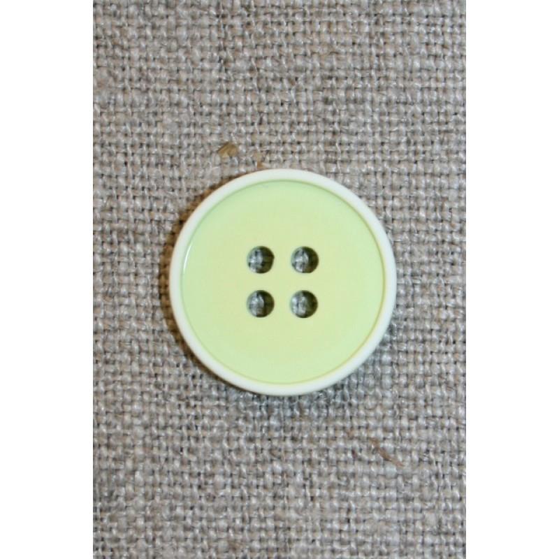 4-huls knap m/hvid kant, lys lime 18 mm.