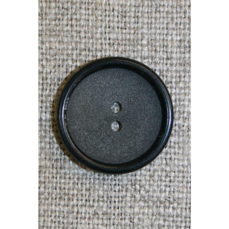 2-huls knap koksgrå/sort, 18 mm.-35