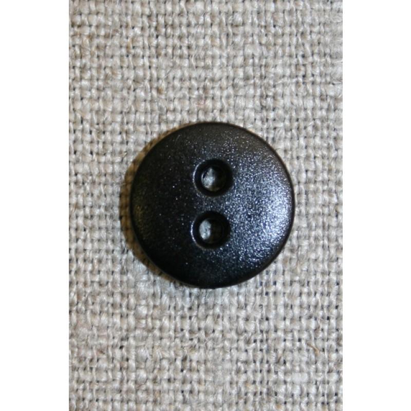 Sort 2-huls knap, 13 mm.