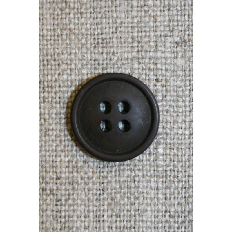Mørkebrun 4-huls knap, 15 mm