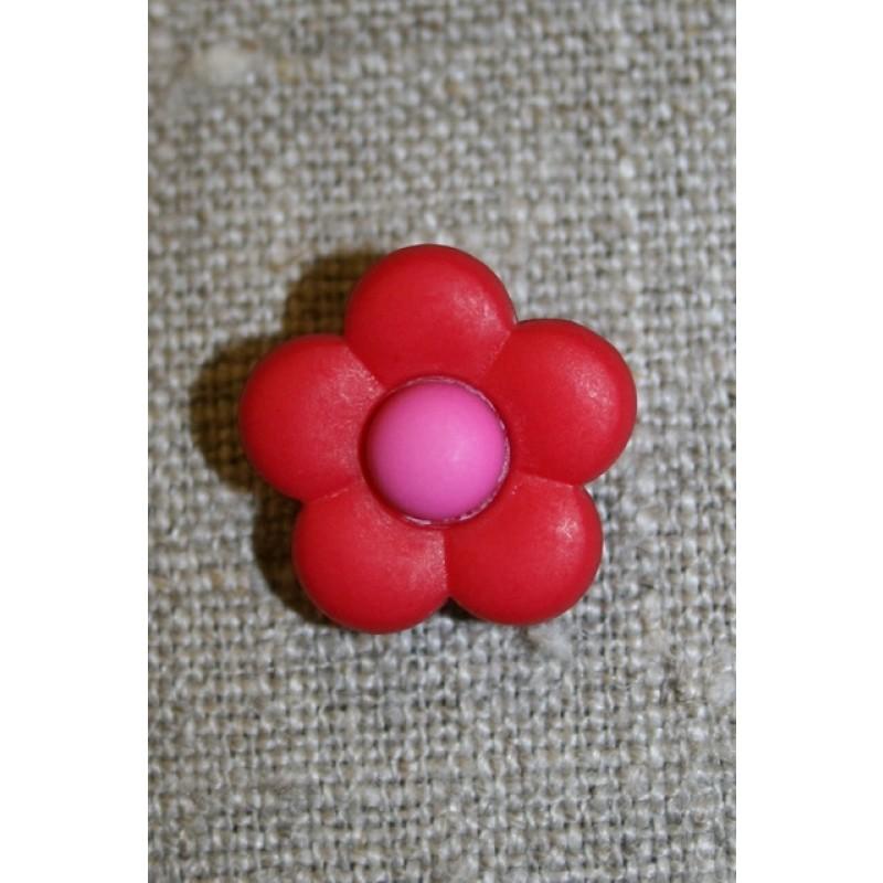 2-farvet blomsterknap rød/pink