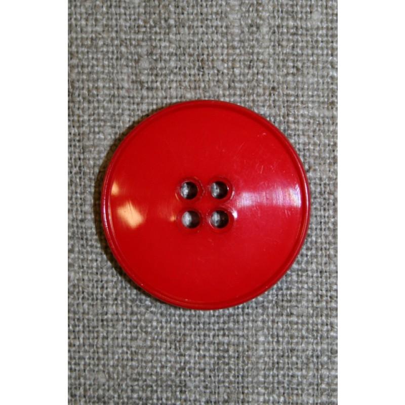Rød 4-huls knap, 28 mm.-31