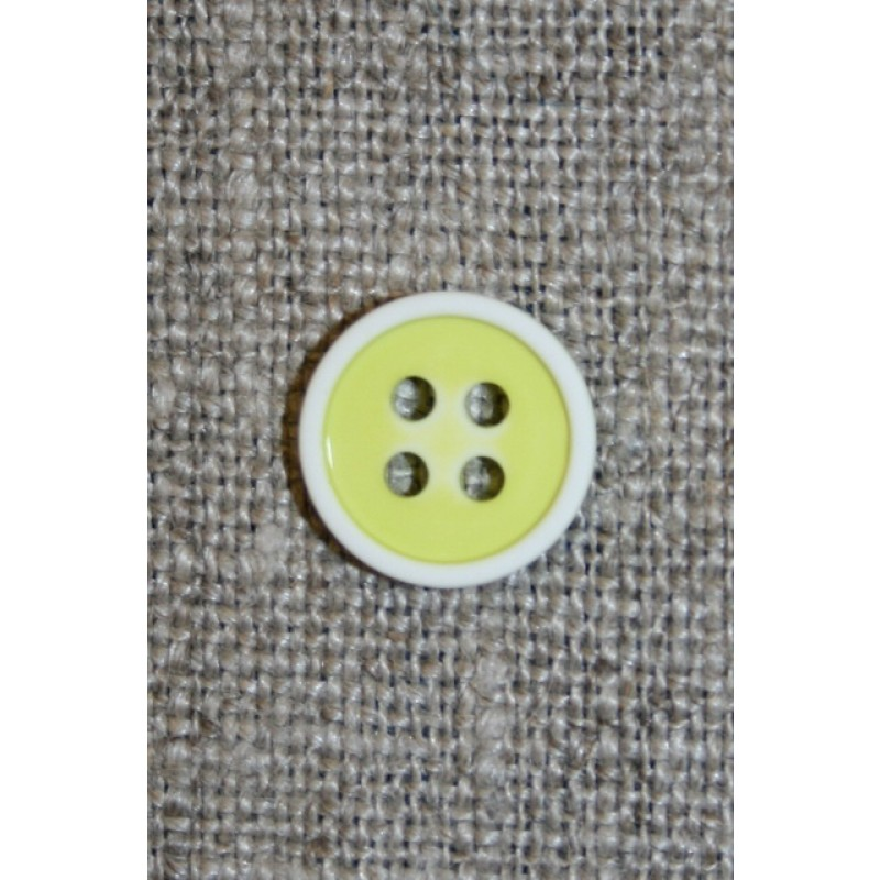 4-huls knap m/hvid kant, lime/gul 11 mm.-31