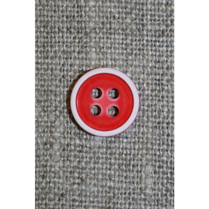 4-huls knap m/hvid kant, rød-31
