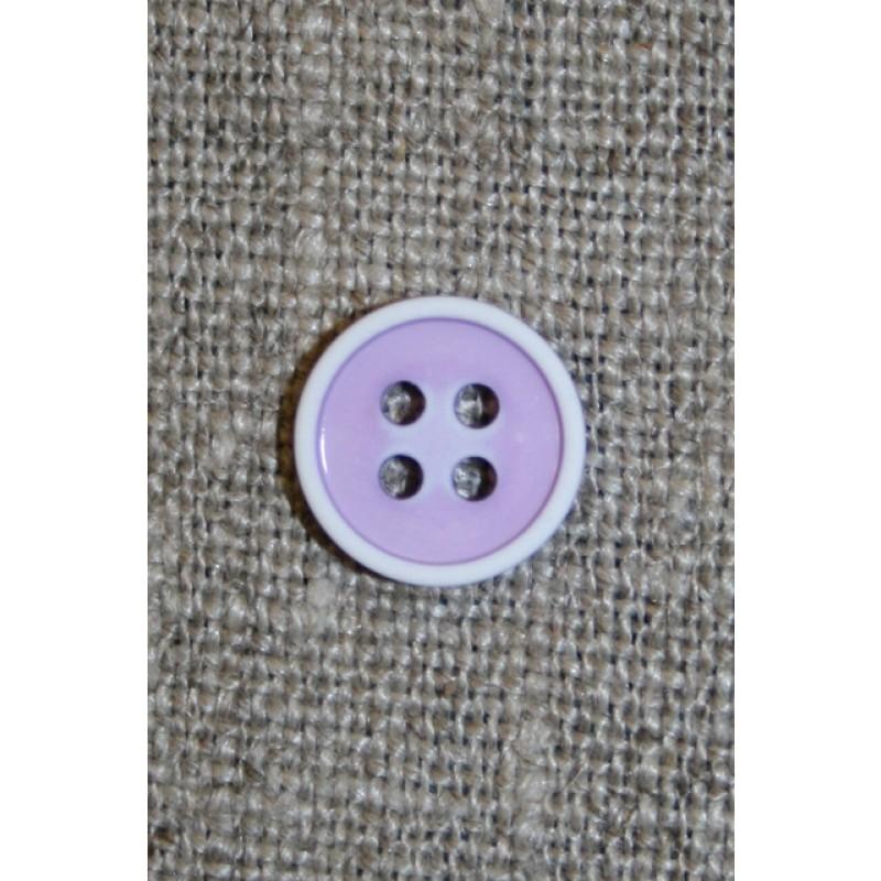 4-huls knap m/hvid kant, lyselilla-31