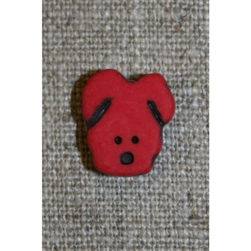 Knap m/hundehoved, mørk rød-31