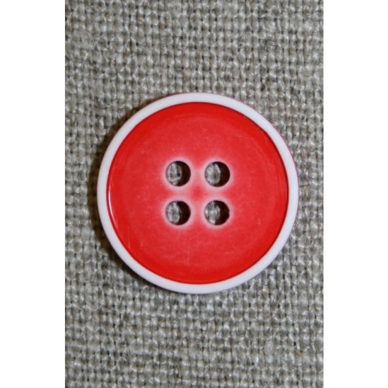 4-huls knap m/hvid kant, rød 18 mm.
