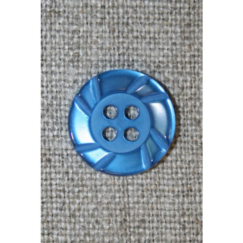 Klar blå 4-huls knap, 15 mm
