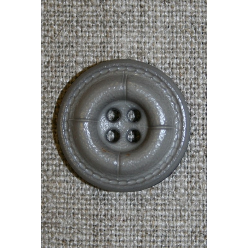 Grå-brun læder-look knap, 22 mm.