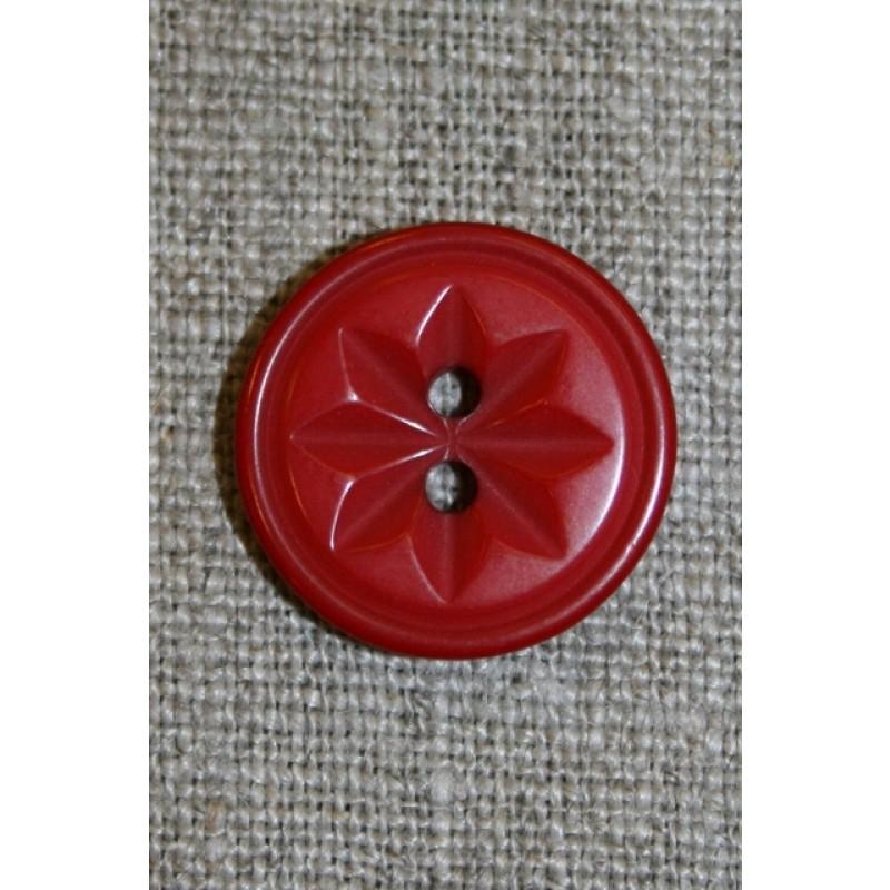 Knap m/stjerne rød, 20 mm.-31