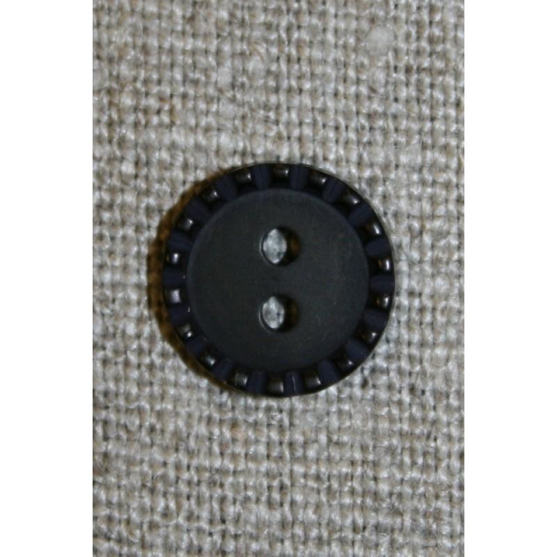 Sort knap m/prikket kant, 13 mm.