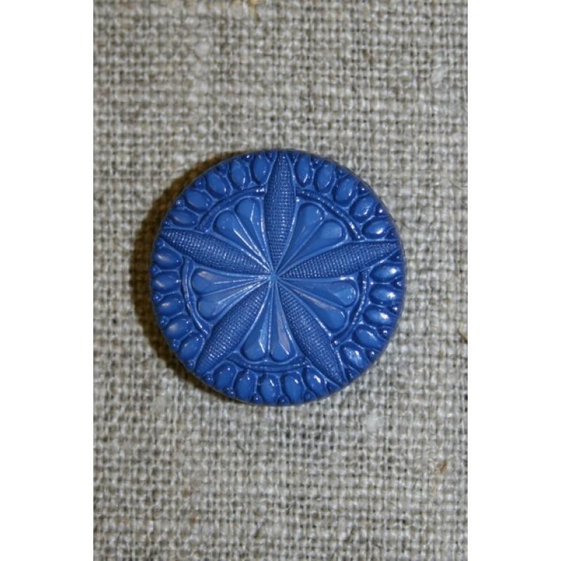 Knap m/blomst/stjerne, klar blå 22 mm.