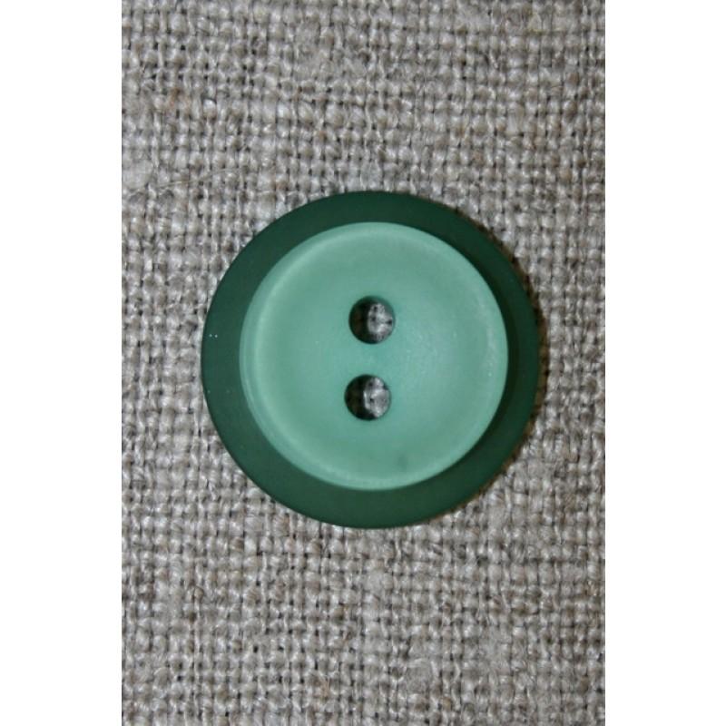Lysegrøn knap m/grøn kant, 18 mm.-31