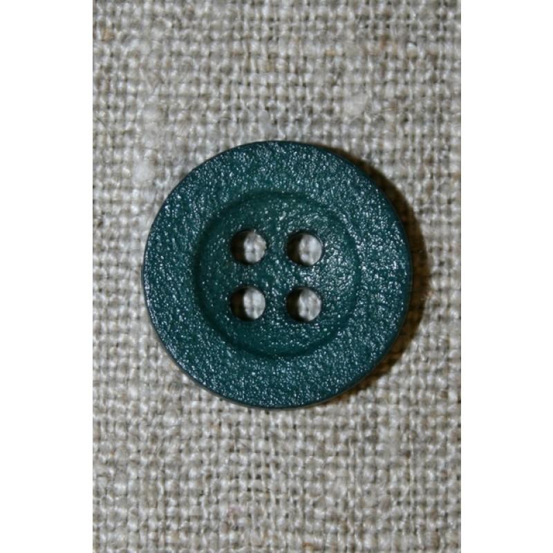 Flaskegrøn ru 4-huls knap, 18 mm.