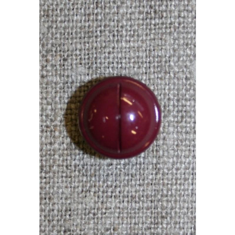 Rund knap m/rille, bordeaux 12 mm.