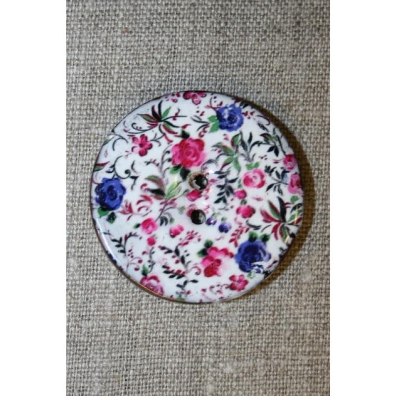 Kokos-knap m/emalje, hvid m/blomster, 40 mm.
