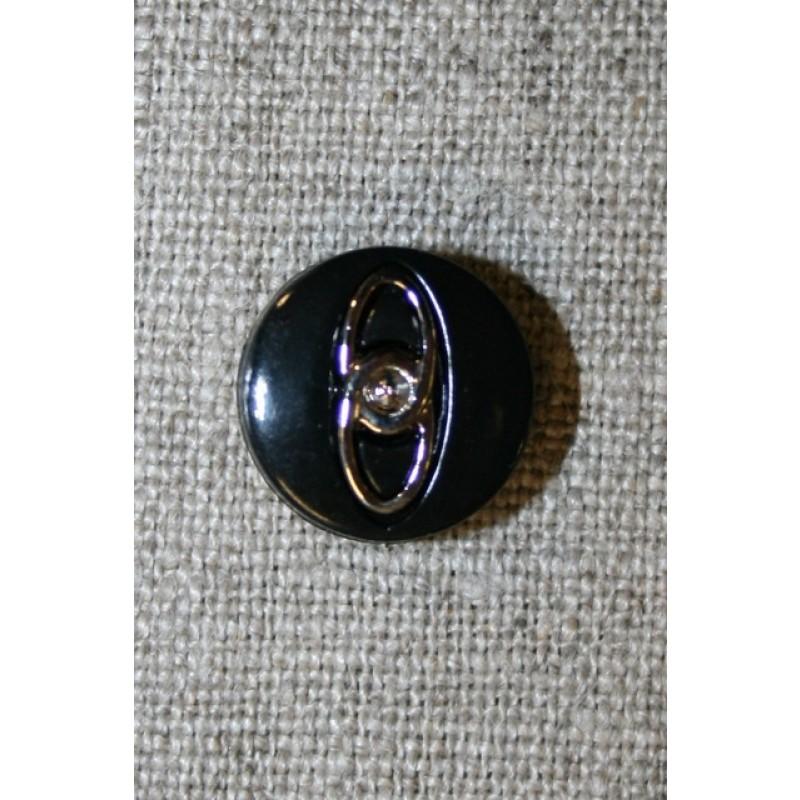 Sort knap m/sølv-ringe, 15 mm.-31
