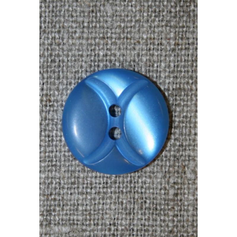 2-huls knap m/buer, klar blå 18 mm.-31