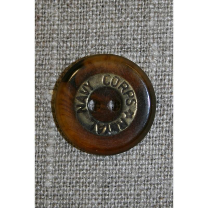 """2-huls knap brun/gl.guld """"Royal Navy Corps"""", 20 mm."""