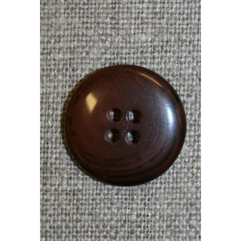 4-huls knap rød-brun-meleret, 20 mm.
