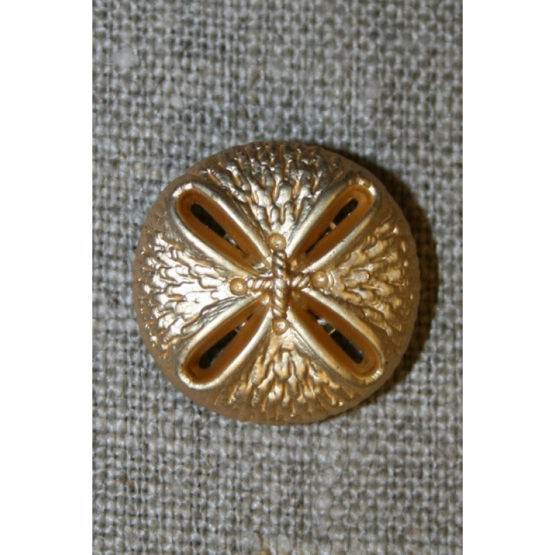 Guld-knap m/mønster, 15 mm.