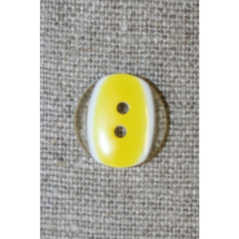 2-huls knap klar/gul, 15 mm.