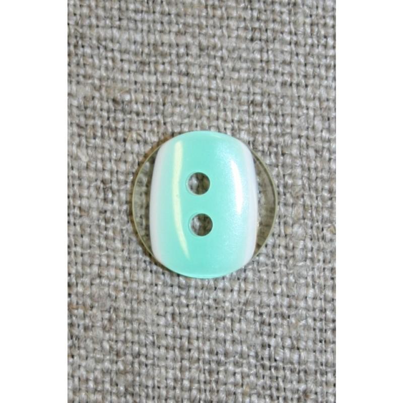 2-huls knap klar/mint, 13 mm.