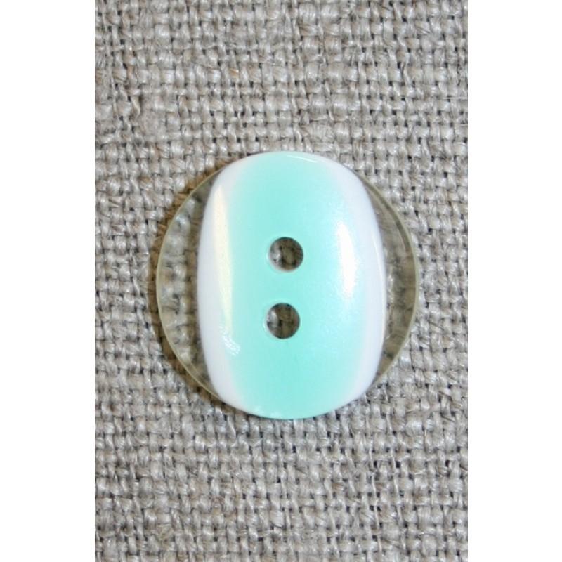 2-huls knap klar/mint, 15 mm.