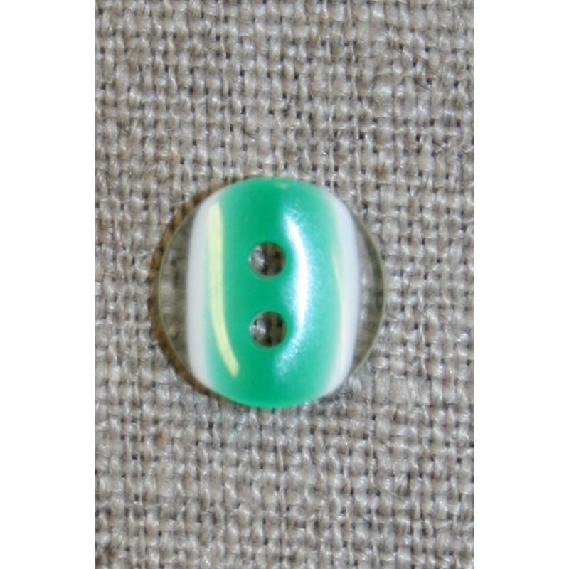 2-huls knap klar/græsgrøn, 11 mm.