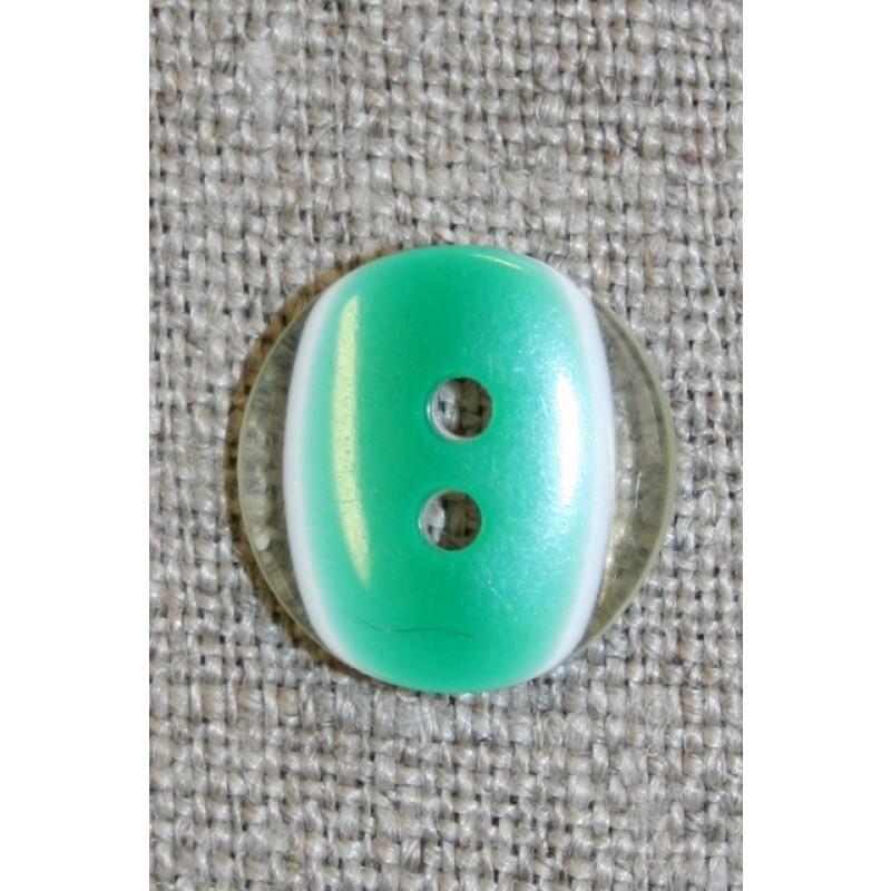 2-huls knap klar/græsgrøn, 15 mm.-31