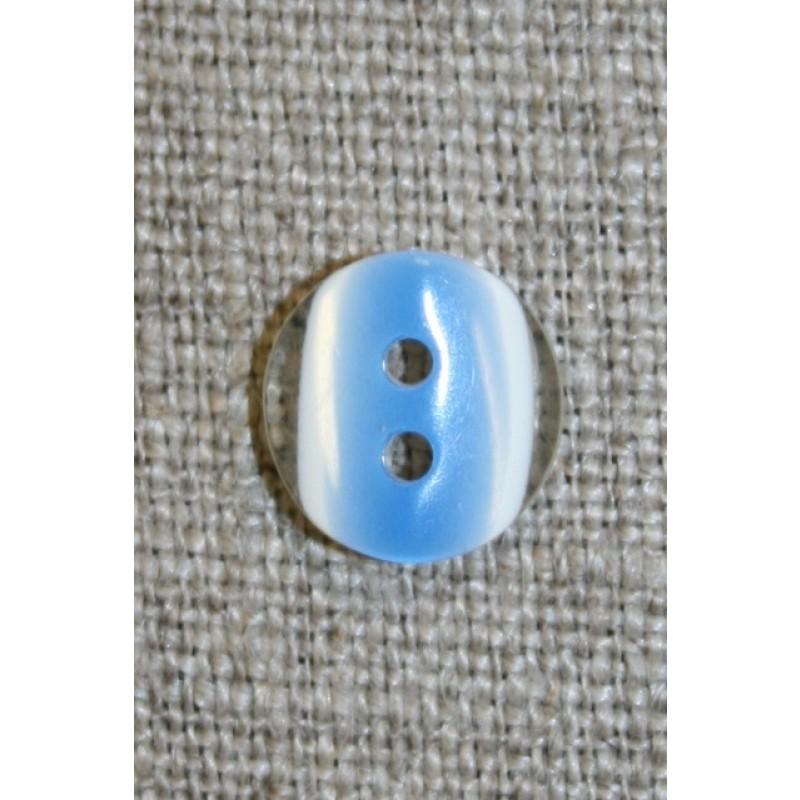 2-huls knap klar/blå, 11 mm.-31